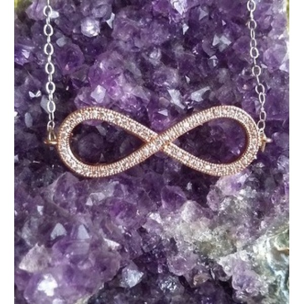 Infinity Necklace Rose Gold Silver