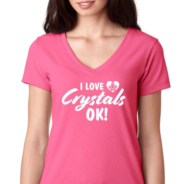 I Love Crystals Ok! - Ladies V Neck Tee